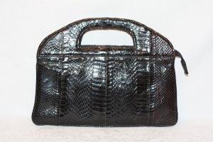 70er Vintage Handtasche Schlangenleder schwarz