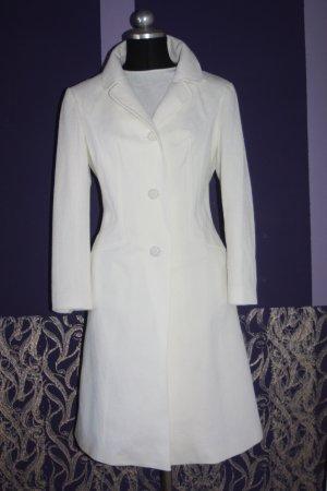 70er Vintage Kostüm Mantel & Etuikleid 40 weiß