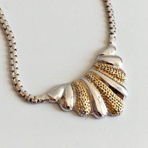 70s Vintage 835 Silber Collier 70er Jahre Bicolor Silber vg Gold Kette Halskette Silberkette necklace silbercollier
