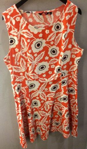 70s Vintage Indiska Hippie Kleid Orange Weiß mit Blumen Print Neu!
