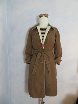70s Vintage Mantel Midi Trenchcoat Hellbraun Granny Oversize 34 36 XS S Taillengurt