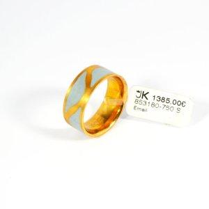 750 Gelbgold Ring, Fein-Grau Emailliert. Größe 55. UVP 1385,00€ Made in Germany