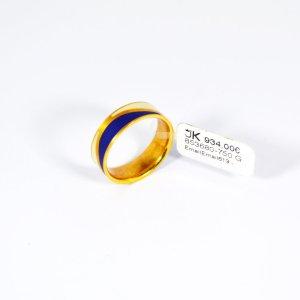 750 Gelbgold Ring mit Blau-Weiß Emaillierung Gr.53. UVP 934€ Made in Germany