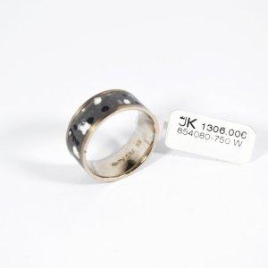750 Weißgold Ring, Fein-Grau/Schwarz/Weiß Emailliert. Größe 53. UVP 1306,00€