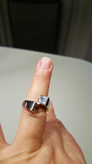 750 Weißgold Ring mit Steine. Gr. 55