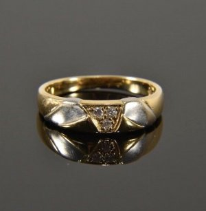 750er Gold Ring 3 Brillanten GOLDRING bicolor gelbgold weissgold Diamanten