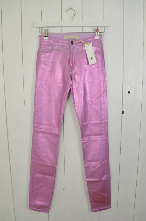 75FAUBOURG Jeans Skinny col. Rosa Silber Metallic Changierend Stretch Gr.25 Neu