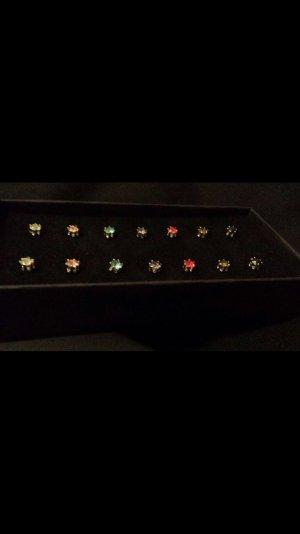 7er Set Ohrringe - Swarovski Kristalle dunkel - NEU - geschenk