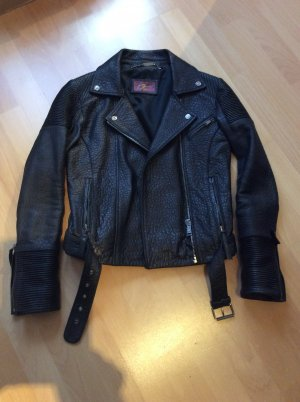 7 For All Mankind Leather Jacket black leather