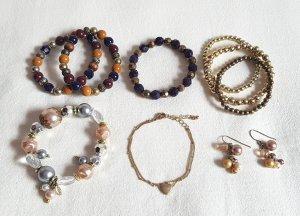 8 Armbänder und Ohrhänger Gold Senf Blau Weinrot Apricot Perlen