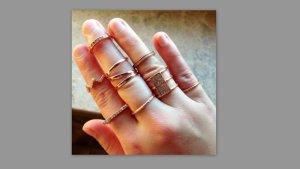 8 bronzefarbene Ringe aus Primark
