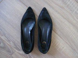 """""""8"""" Flats Ballerinas aus schwarzem Samt mit goldenem Absatz"""