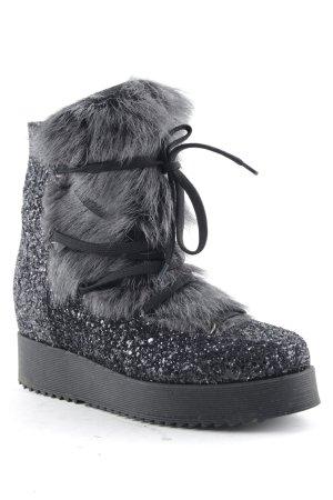 8 Halbstiefel schwarz-grau Casual-Look