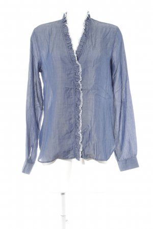 8 Ruche blouse donkerblauw casual uitstraling