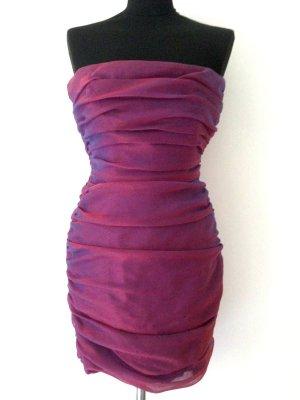 80'er Jahre Vintage Corsagen Kleid mit Raffungen, Gr. 36
