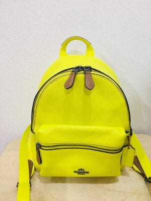 Coach Laptop Backpack neon yellow