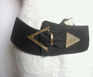 Cinturón de cuero negro-color oro Cuero