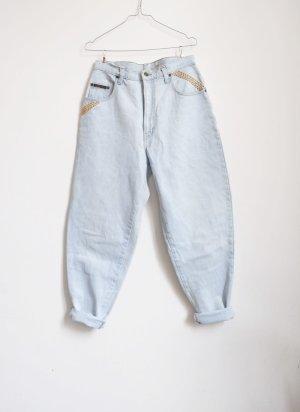 80er jahre karotten highwaist jeans hellblau applikationen M L