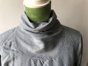 80er Jahre Rollkragenhemd aus grauer Seide