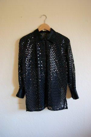 80er Rundpailletten Bluse seethrough, vintage Bluse grunge
