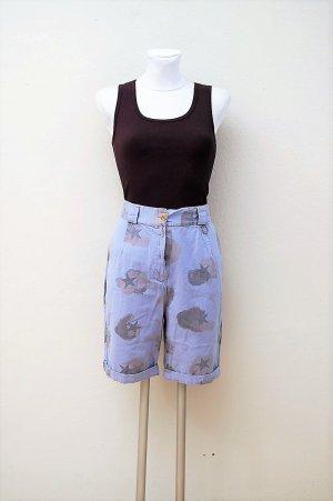 Vintage Pantalón corto de talle alto multicolor Algodón