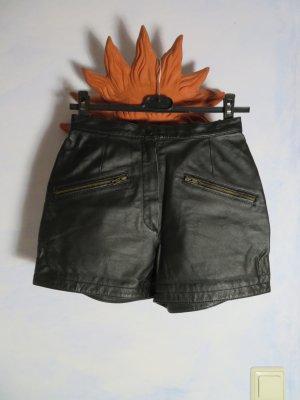 Vintage Pantalón corto de talle alto negro Cuero