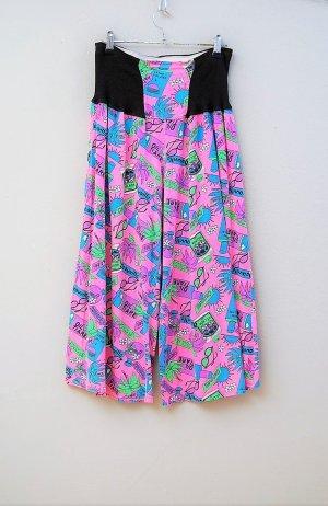 Vintage Falda pantalón de pernera ancha multicolor Algodón