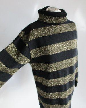 80er Vintage Rollkragen Pullover Lurex Größe M 40 Schurwolle Schwarz Goldfarben Block Streifen Pulli Strick Longpullover Minikleid
