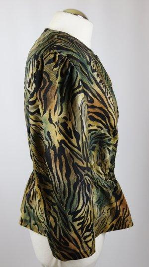 80er Vintage Schößchenbluse Bluse Größe L 42 Wild Dschungel Animal Leo Print Grün Schwarz Braun Khaki Cropped Oversize