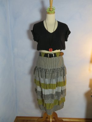 Vintage Flounce Skirt multicolored silk