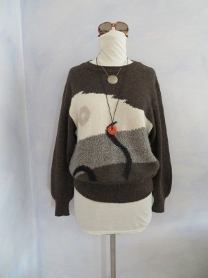 80s Vintage Basler Mohair Pullover Alpaka Angora Braun Creme Geometrisch Muster S M L Cosy