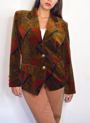 80s Vintage Samt Velvet Blazer Jacke