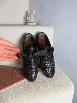 80s Vintage Schwarz Flach Silga Wildleder Croc Lack Leder Schuhe 38 Flats Satinschleife Schuhe