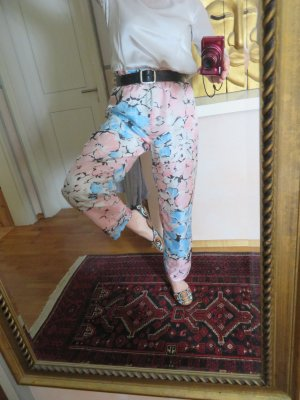 Vintage High Waist Trousers multicolored silk