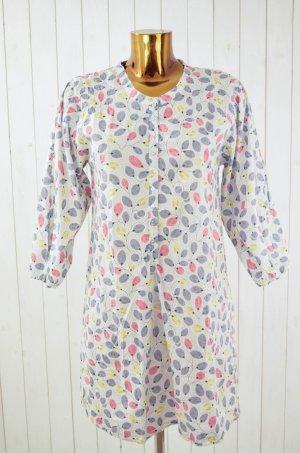 81hours Kleid Hemdblusenkleid Baumwolle Print Bunt Weiß Grau 3/4-Arm Silberfaden Gr.S