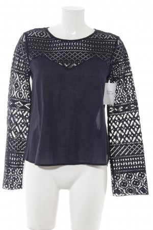81hours Long Sleeve Blouse dark blue loosely knitted pattern casual look