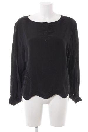 81hours Langarm-Bluse schwarz schlichter Stil
