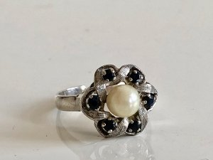 835 Silber Ring Perle Saphir Silberring