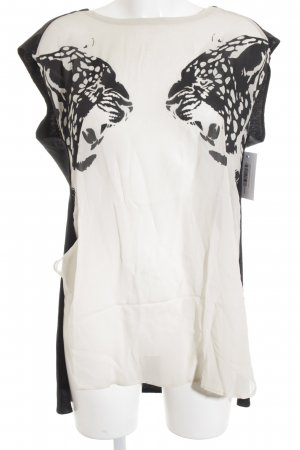 8PM Blouse Top cream-black leopard pattern