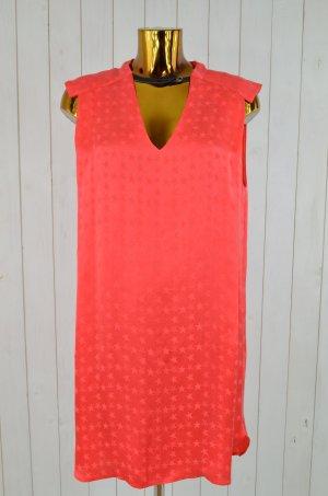 8PM Kleid Cocktailkleid Mod. CYCLONE Sterne Rot Koralle Muster Viskose Gr. M