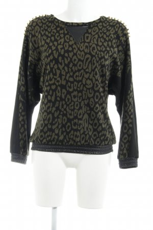 8PM Sweatshirt zwart-olijfgroen luipaardprint extravagante stijl