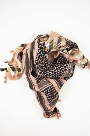 8PM Tuch Schal Baumwolle Altrosa Schwarz Gold Beschichtet Palituch Trottel