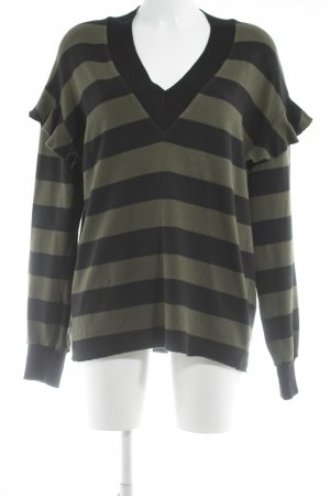 8PM V-Neck Sweater khaki-black striped pattern casual look