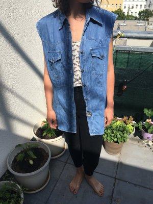Versace Blusa senza maniche blu Cotone