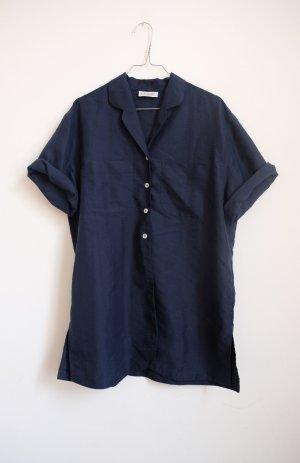 90er jahre longbluse blau struktur cleanchic minimal navy S M
