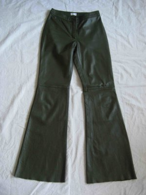 H&M Leather Trousers dark green leather