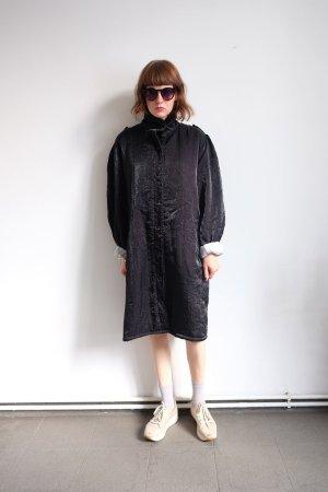 90er jahre mantel maxicoat gefüttert glanz oversize schwarz S M