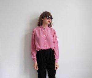 90er jahre seidenbluse longbluse pastell rosa S M