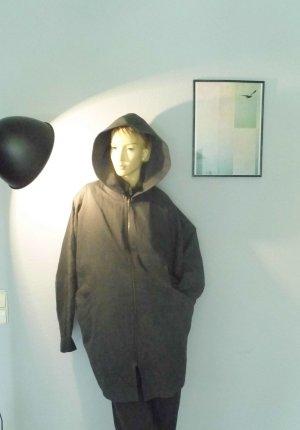 90er Oversize Eggshape Übergangsmantel mit großer Kapuze Grau