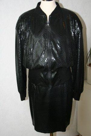 90er Vintage Kostüm, Blouson mit Rock in Schlangenleder-Optik